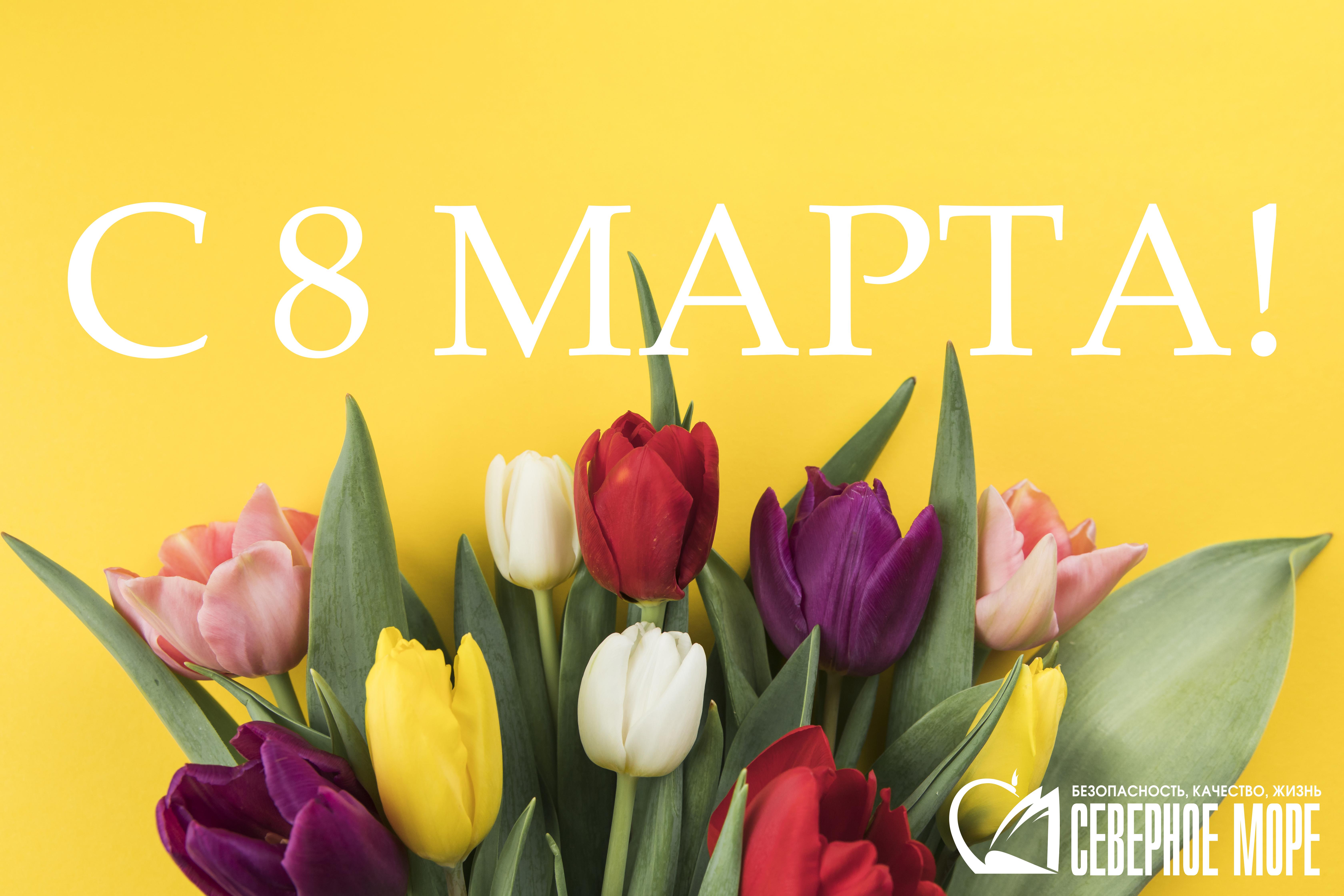 открытка 8 марта северное море